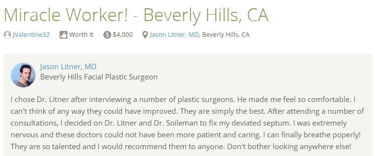 Reviews from RealSelf  - Miracle Worker! - Beverly Hills, CA