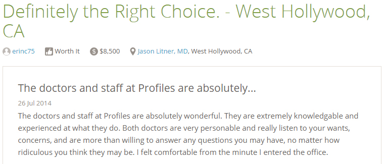 Reviews from RealSelf  - The doctors and staff at Profiles are absolutely….