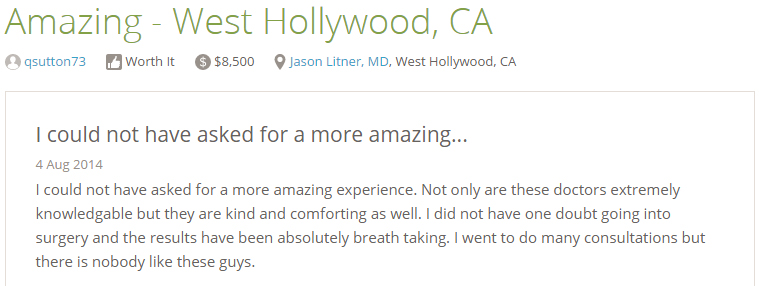 Reviews from RealSelf  - I could not have asked for a more amazing… 4 Aug 2014