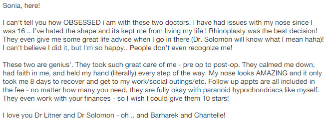 Reviews from Yelp - I can't tell you OBSESSED I am with these two doctors….